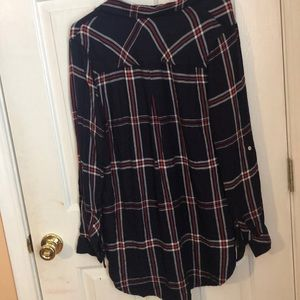 Kenneth Cole Reaction Tops - Red white and blue hi-low plaid shirt